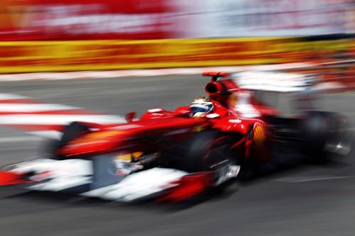 El Ferrari de Fernando Alonso en el GP de Mónaco (2011)