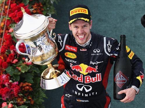Vettel en el podium
