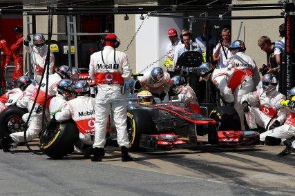 Problemas en el pitstop de Hamilton