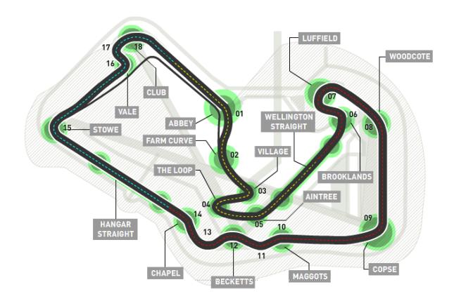 Diagrama del circuito de Silverstone