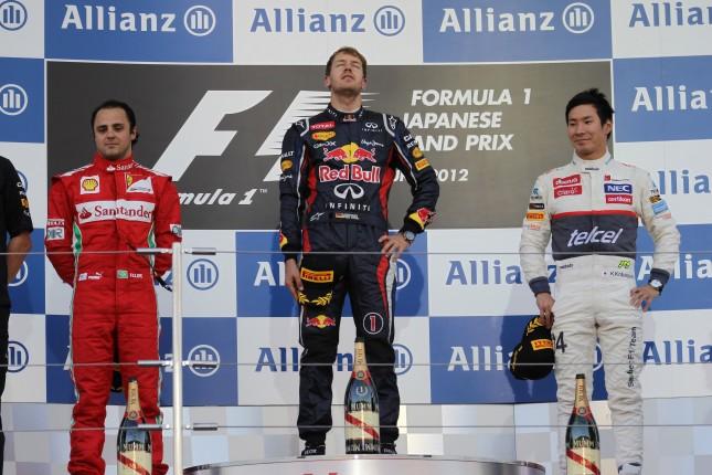 Podium GP Japón 2012 (Vettel, Massa, Kobayashi)
