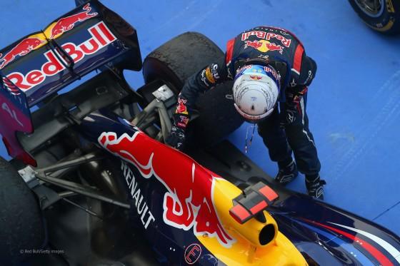 """Vettel acariciando el lomo de su """"toro"""""""