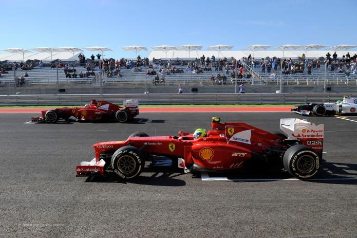 Alonso y Massa en la parrilla de salida del GP EEUU 2012