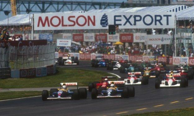 Mansell adelantando a Patrese en la salida (GP Canadá, 1991)