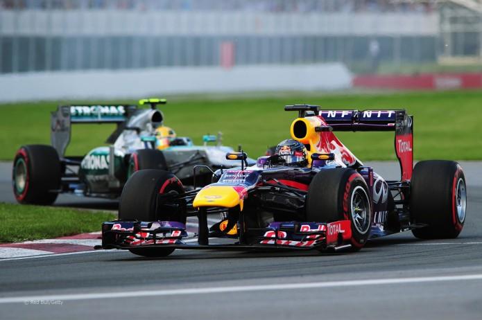 Vettel seguido por Hamilton (GP Canadá, 2013)