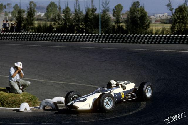 John Surtees, Ferrari 158 azul y blanco (GP México, 1964)