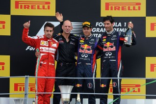 Podio GP Italia 2013 (Vettel, Alonso, Webber)