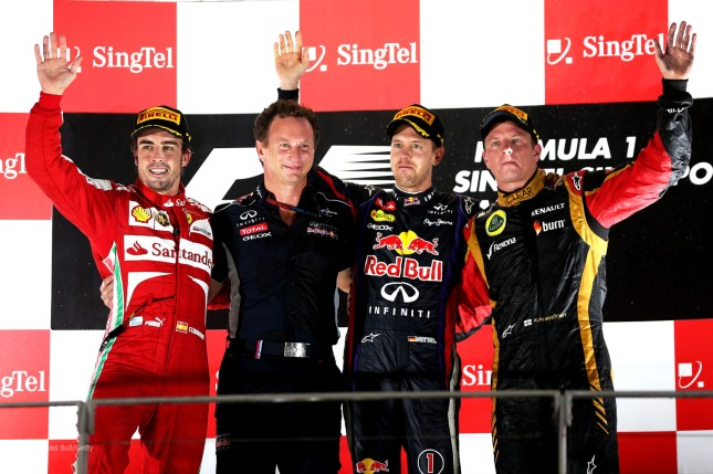 Podio del Gran  Premio de Singapur 2013