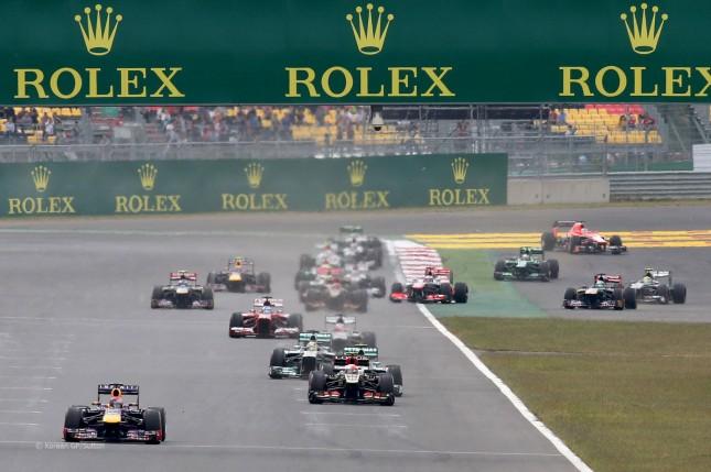 Vettel liderando tras la primera vuelta (GP corea, 2013)